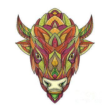 American Buffalo Bison Mandala  by Aloysius Patrimonio