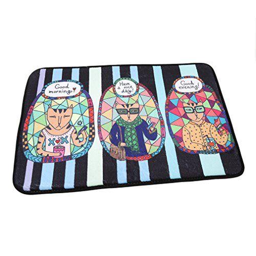 VWH Cartoon and Flowers Doormat Entrance Mat Floor Mat Rug Indoor Outdoor Bathroom Mats Non-slip Doormats (20#)