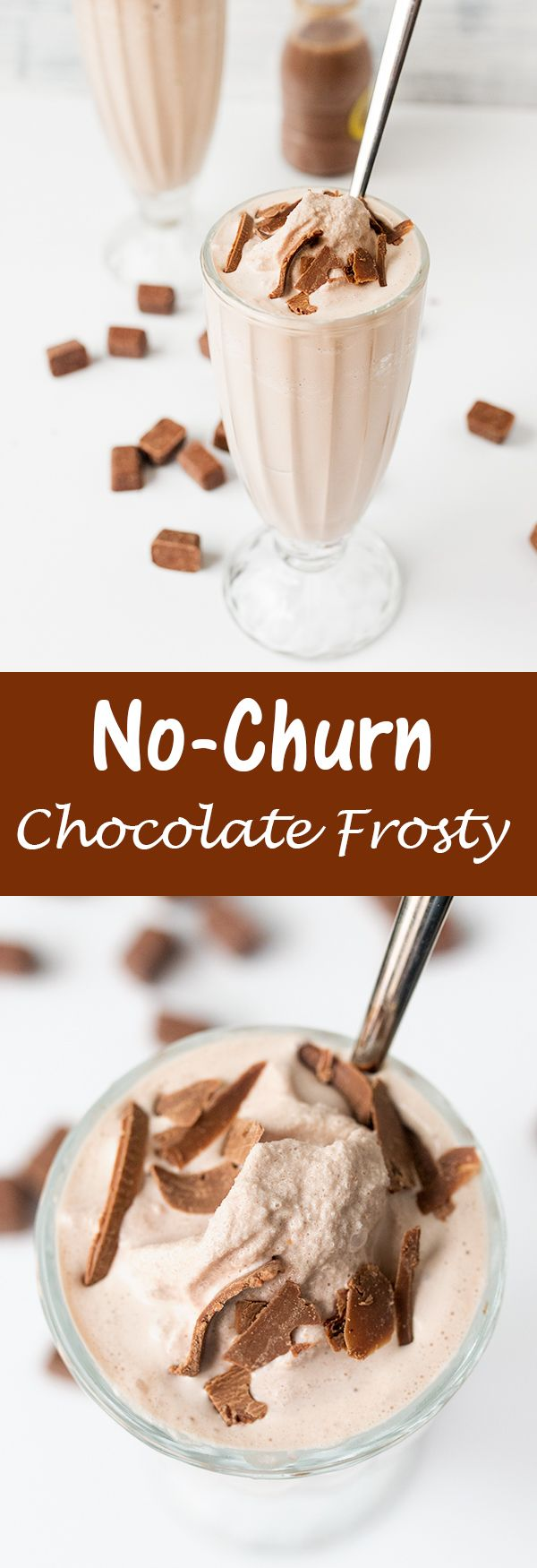 Make this delicious CHOCOLATE FROSTY at home - without cool whip. No ice cream maker needed either!