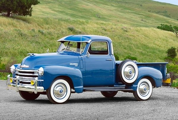 Royal blue vintage truck! Great whitewalls! | Vintage ...