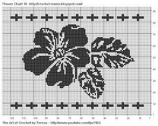 Free Filet Crochet Charts and Patterns: Filet Crochet Flower Chart 10