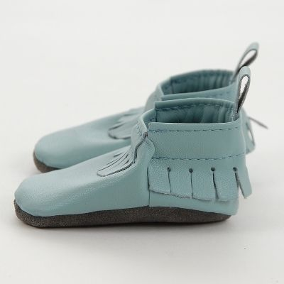 This colour is proving to be a popular choice for our new leather baby moccasins already! Iceberg / Mally Mocs ™ | MallyDesigns.com