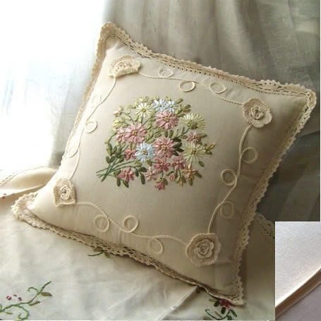 Hand Ribbon Embroiderey Bouquet Roses Cushion Cover/pillow 2 by Victoria's deco, http://www.amazon.com/dp/B002LUYYFE/ref=cm_sw_r_pi_dp_PzlMpb0108YDX
