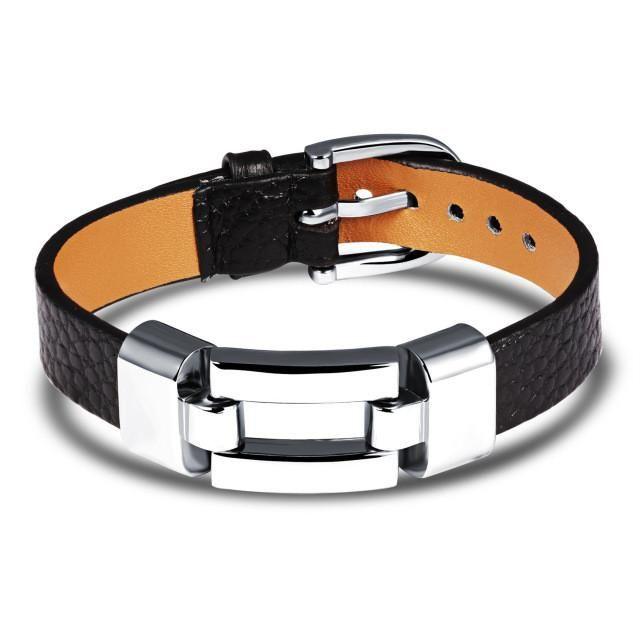 Elegant Titanium Black Leather Bracelet [Variations]