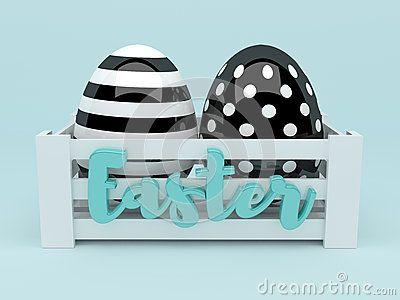3d elegant black and white Easter eggs in wooden box