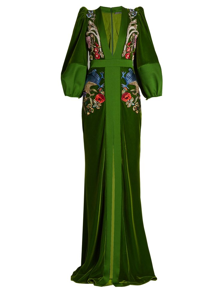 Alexander McQueen's Green Velvet Fantasy Gown. It's has a Fitted Bodice with Plunging V-Neckline and Balloon Sleeves. The Skirt Skims your body to the Floor with a Thigh-High Central Slit. It's Exquisitely Embroidered throughout with Birds & Flowers and Fantastical Creatures. For Bling I've got a Rubellite-Multi Necklace, Earrings, Two Rings and a Snake Bracelet. Walk out in Gold Open Pumps and Carry a Jeweled Clutch (It's all on this board). Bring a little Fantasy to your times. - Gabrielle