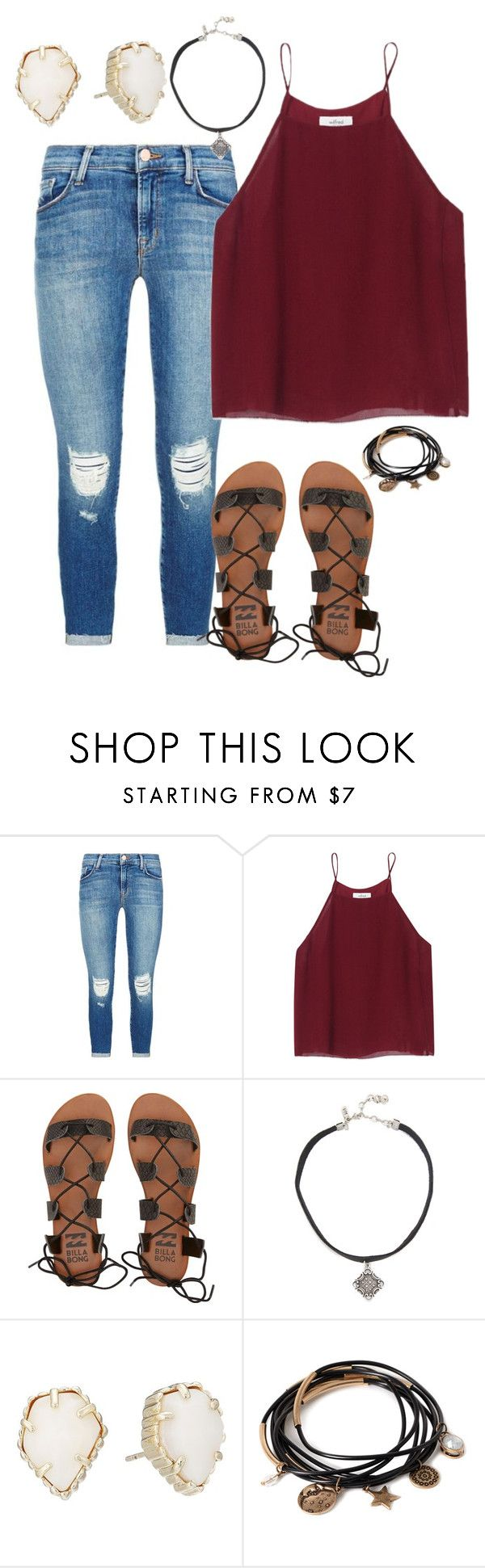 """""""Untitled #1750"""" by elephant10 ❤ liked on Polyvore featuring J Brand, Wilfred, Billabong, Vanessa Mooney, Kendra Scott and Forever 21"""