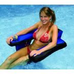 Fabric Covered U-Seat Inflatable Pool Chair, Blue/Black