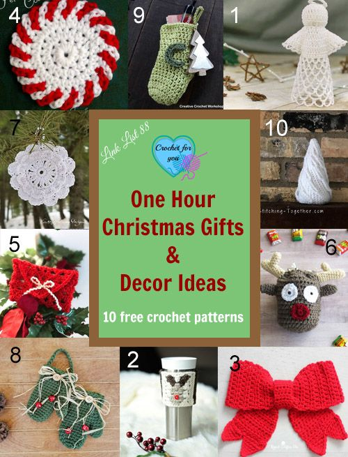 These 10 free crochet patterns are simple and small gift ideas, gift tags  and ornaments you can finish in an hour. - One Hour Christmas Gifts & Decor Ideas Sew Much Crafting Crochet