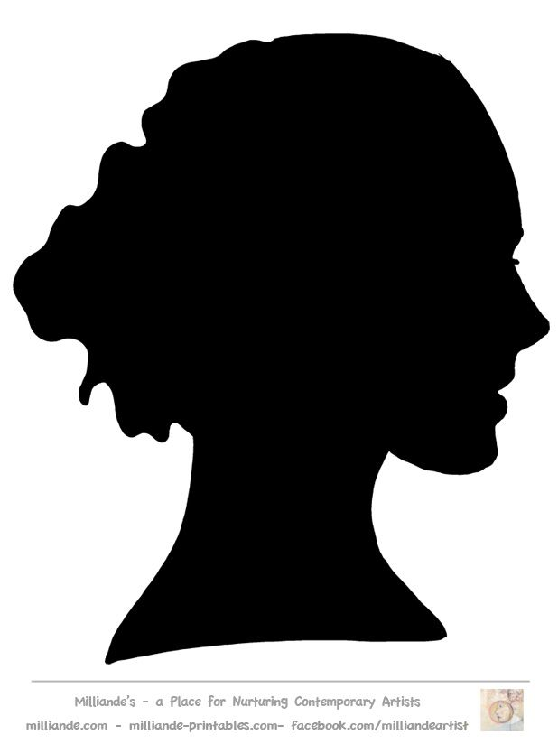 face silhouette woman stencil template at  milliande