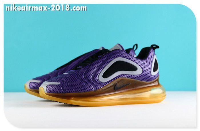 size 40 dd64f 9ad4f Nike Air Max 720 Mesh Latest Women Jogging Shoes Purple Yallow Black