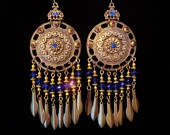 Chandelier Earrings - Kerala on Etsy $34.00: Etsy 34 00, Cobalt Blue, Blue Crystals, Chandelier Earrings, Historicly Inspired