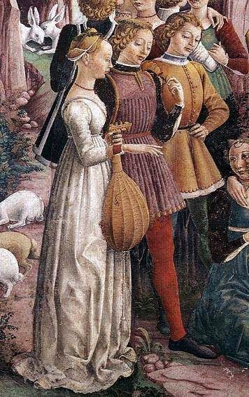 Francesco del Cossa - Allegory of April - Triumph of Venus   (detail)   Ferarra - Central Italy (1476-1484)