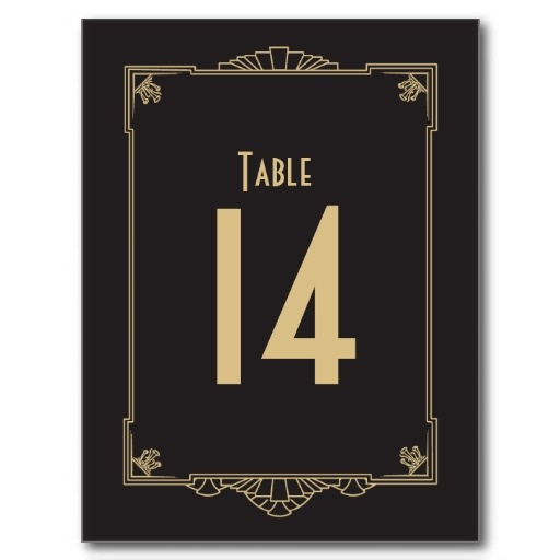 Art Deco Style Great Gatsby Themed Table Numbers