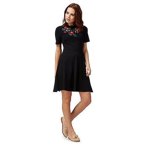 Red Herring Black floral t-shirt skater dress | Debenhams