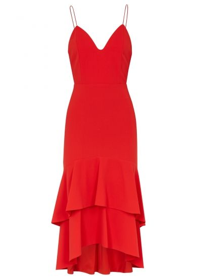 b7cab4985 Alice + Olivia Amina red ruffled-hem dress - Harvey Nichols ...