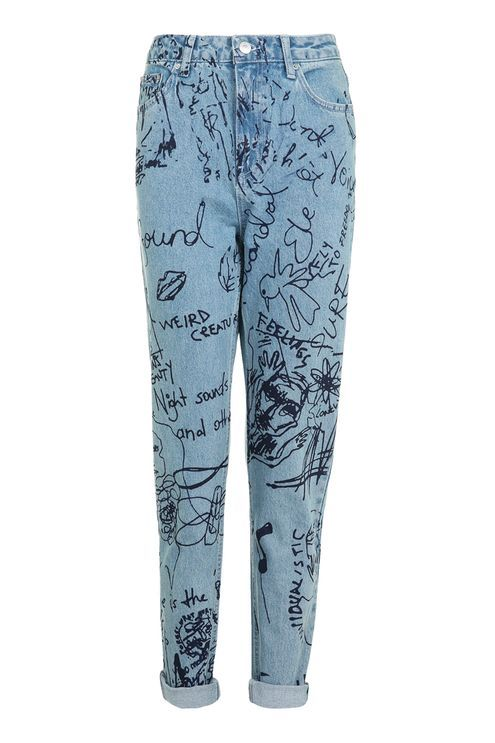 MOTO Graffiti Print Mom Jeans - New In- Topshop Singapore