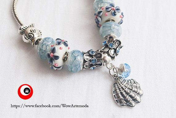 White Azure European Style Bracelet with stunning white blue flower Murano Charms, Seashell and little sea color swarovski. WoWArteModa, €9.90