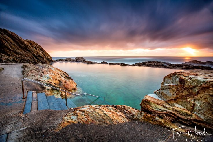 The Bermagui Ocean Pool on the south coast of NSW Australia is one stunning place to watch the sunrise and then go  for a refreshing swim: http://stsurfimages.com/product/s1478-180/