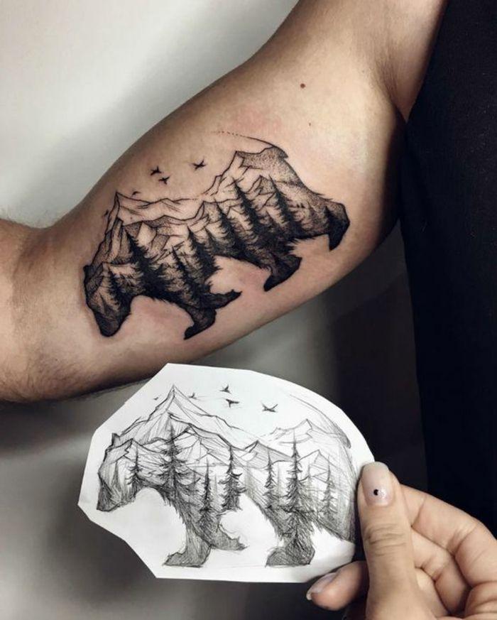 beau tatouage, grand ours et montagne tatoués au bras, paysages de nature sauvage