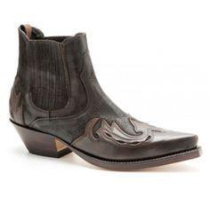 037 Manchado Cuero-Serra Prin   Botines vaqueros Mayura para hombre hechos con combinación de cuero marrón elegantes y atrevidos para cowboys y rockeros   Mayura combined brown leather ankle cowboy boots