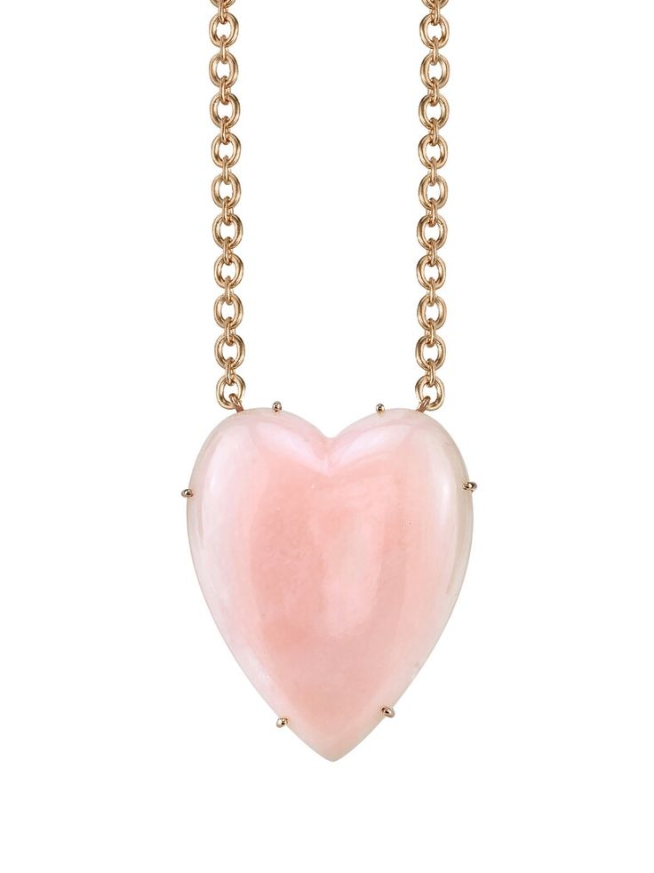 Irene Neuwirth Jewelry - One-Of-A-Kind Pink Opal Heart Necklace    Handcrafted in 18-karat rose gold.  Detailed in pink opal.  Pink opal measures 1 7/16-in. long and 1 3/16-in. across.  Necklace measures 16-in. long.  Finished with a safety clasp hook.