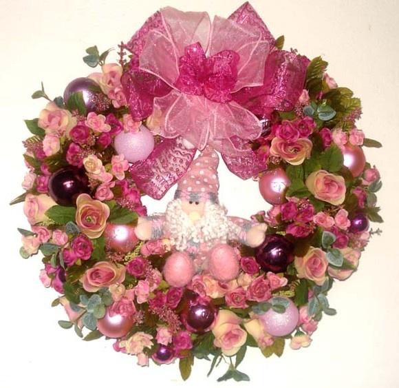 Guirlanda de Natal  Pink c/ Papai Noel