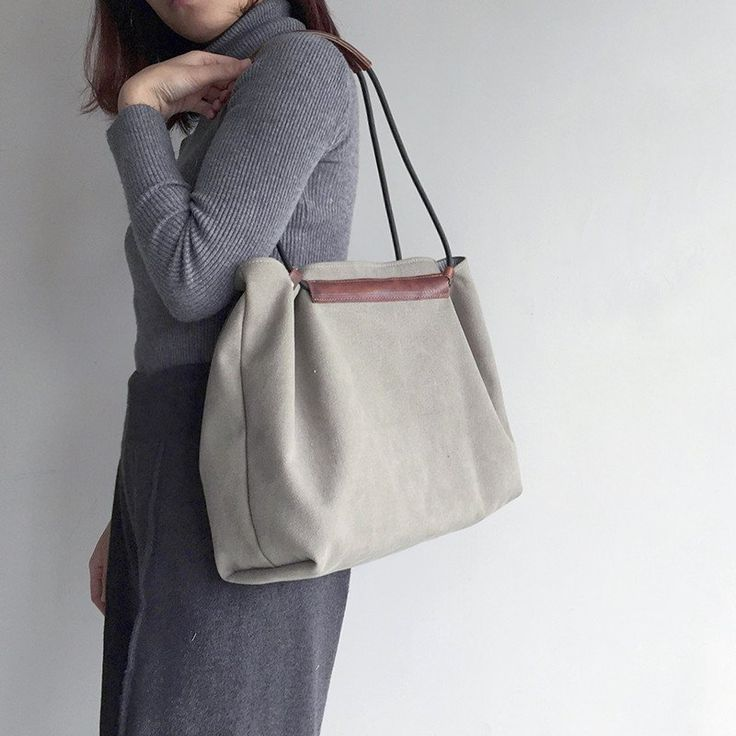 Handmade Waxed Canvas Tote Bag Women's Casual Canvas Shopper Bag Shoulder Bag MY13