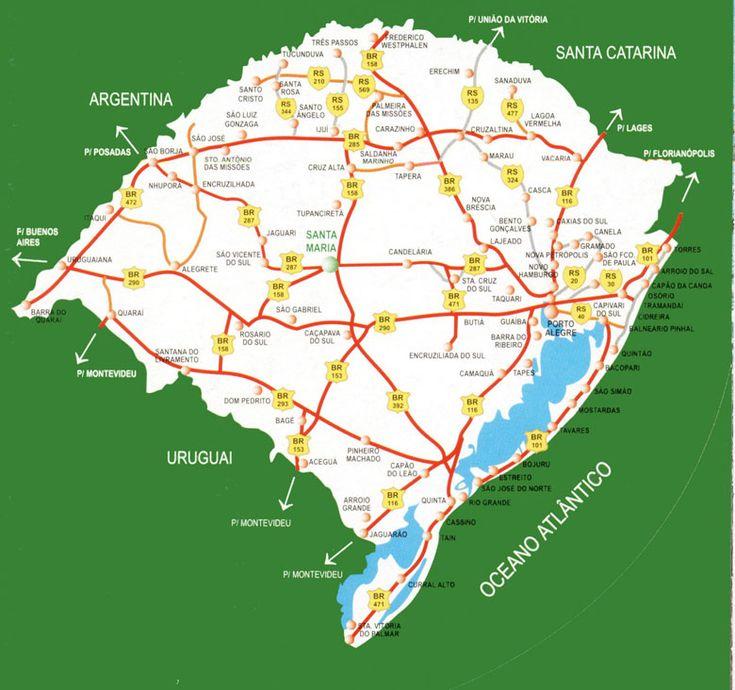 Mapa do Rio Grande do Sul, rodovias das serra gaúcha BRs