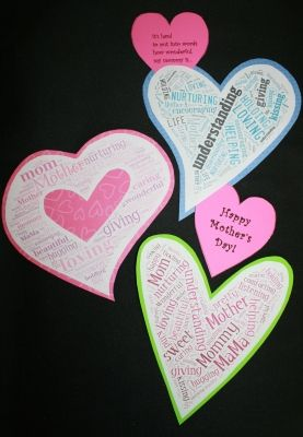 Have kids make a word cloud card for Mother's Day