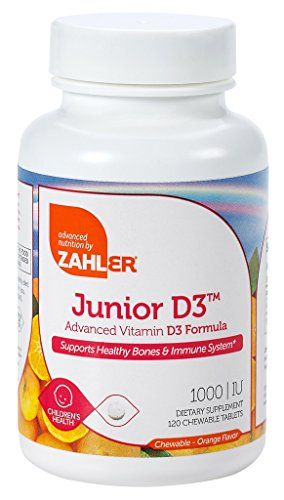 Zahler Junior D3, Kids Vitamin D, Great Tasting Chewable Vitamin D for Kids, Optimal Vitamin D3 1000 IU for Children,Certified Kosher, 120 Chewable Tablets >>> Read more  at the image link.