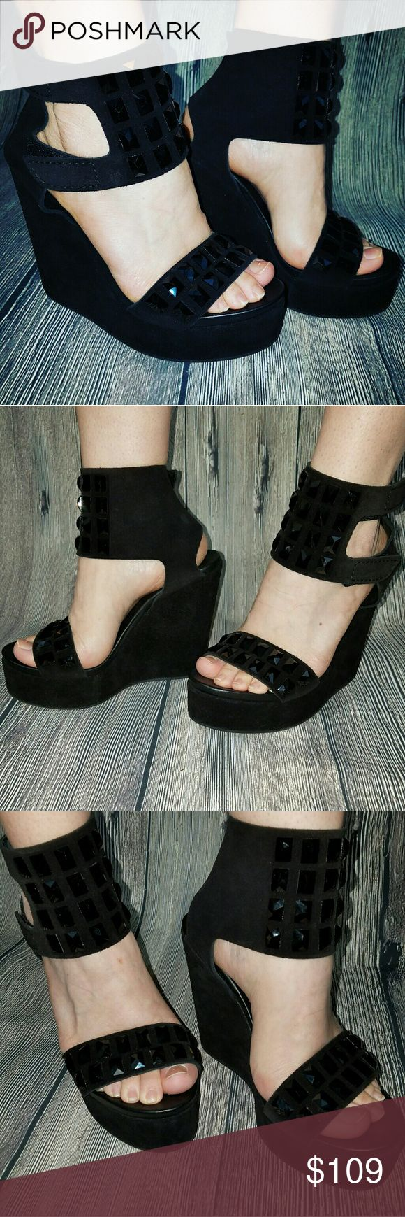 """Pedro Garcia TALISA Wedges Black Suede Leather Sexy Pedro Garcia """"Talisa"""" embellished high heel wedges in black suede leather. Made in Spain. Minor scuffs from wear. Product Code: W5262399 Size: 38 1/2 Pedro Garcia Shoes Wedges"""