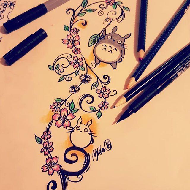 【imaginariumofees】さんのInstagramをピンしています。 《Tomorrow !!! #tattoo #inked #instatattoo #girlwithtattoos #inkedgirls #ornemental #fineline #coloredtattoo #flowers #totoro #drawing #drawingtattoo #tattooproject #cutetattoo #ghibli #totorotattoo #sakura #cherryblossoms #imaginariumofees》