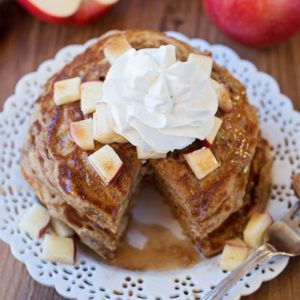 These light and fluffy apple pie pancakes with spiced maple syrup are perfect for fall mornings!