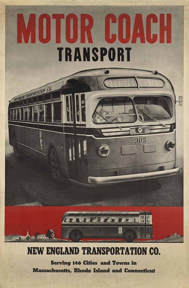 Motor Coach Transport, New England Transportation Co, 1940s Antique Travel Poster - http://retrographik.com/motor-coach-transport-new-england-transportation-co-1940s-antique-travel-poster/ - advertising, antique, bus, classic, coach, high resolution, historic, Poster, transportation, travel, vintage