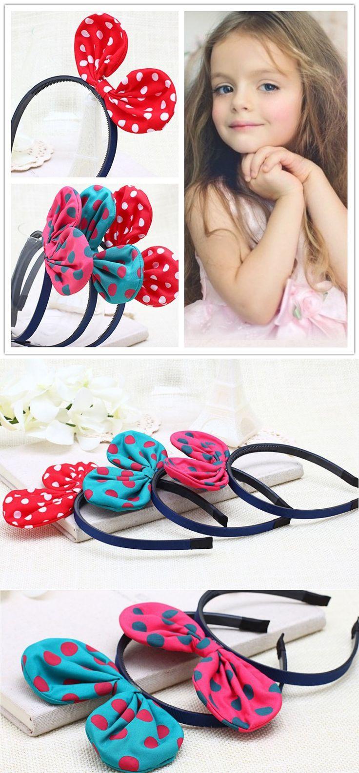 2pcs Chiffon Dot Mickey Ears Girls Headband Canvas Bow Baby Headbands Cute Headdress For Children Princess
