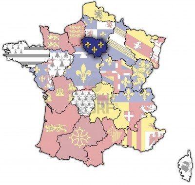 Ile-de-France sur une carte ancienne de france avec les drapeaux des divisions administratives Banque d'images - 6791778