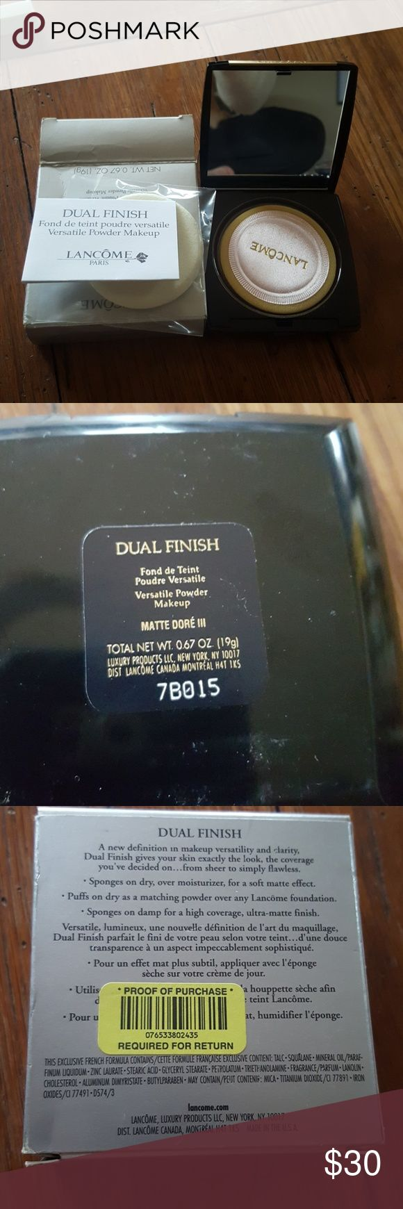Income dual finish  in Matte Dore III new in box New in box from Dillards. Was a gift in wrong color. I'm pale pale and this is more for a medium skin tone. The box has a little dent in it...see photo. >>>>> I take offers on ALL of my items and bundle items as well.  Make an offer, don't be shy. Lancome Makeup Foundation