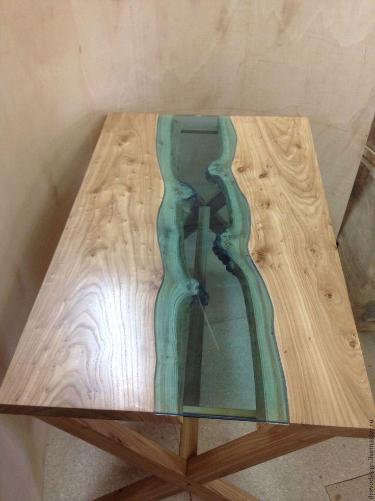 """Купить Обеденный стол """"Река"""" с деревянным подстольем - стол, бирюзовый, столик, стол обеденный"""