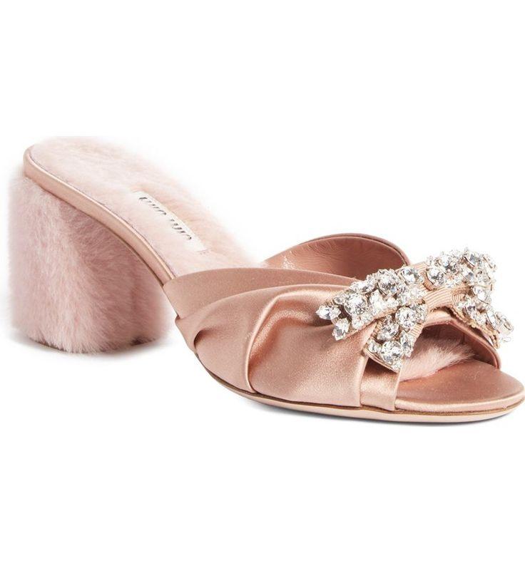 Miu Miu Crystal Embellished Slide Sandal (Women) ($950)