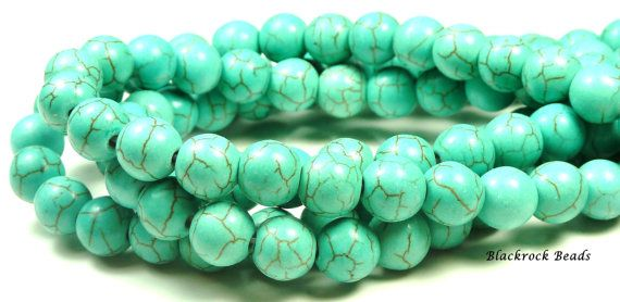 8mm Turquoise Blue Synthetic Howlite Round Stone by BlackrockBeads, $3.85