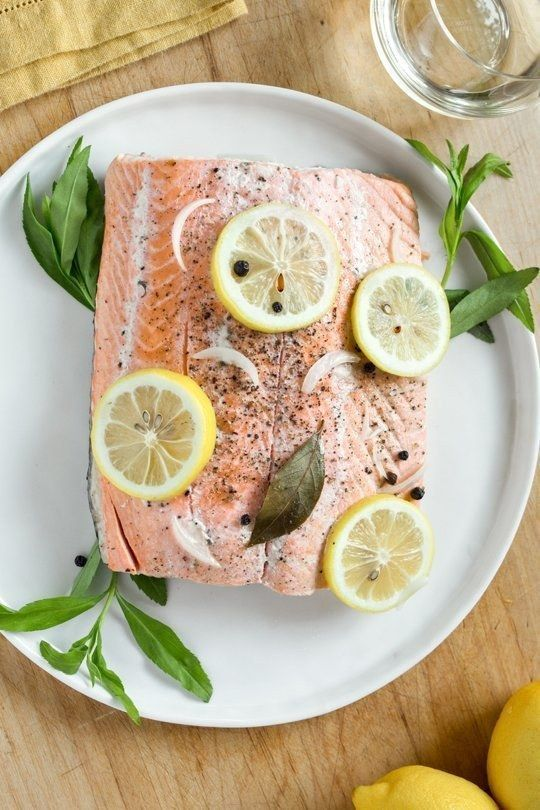 slow-cooker poached salmon with lemon + herbs