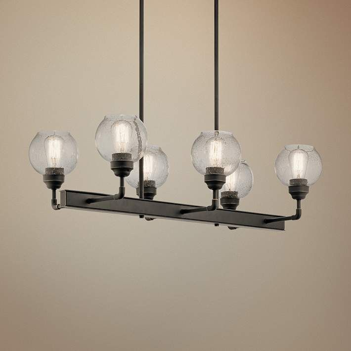 kichler niles 32 14w olde bronze 6 light linear chandelier - Linear Dining Room Light Fixtures