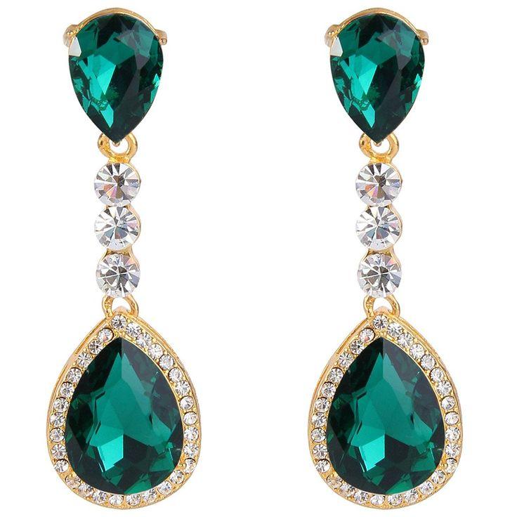 Clearine Women's Vintage Inspired Crystal Floral Pattern Chandelier Pierced Dangle Earrings J3h53l9Y