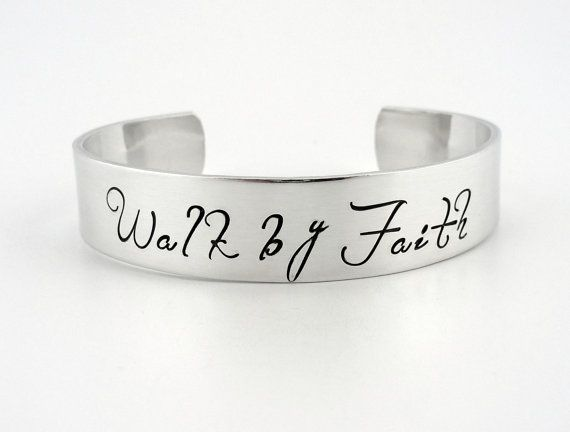 Stamped Bracelet  Walk by Faith Aluminum by AlwaysThereDesigns