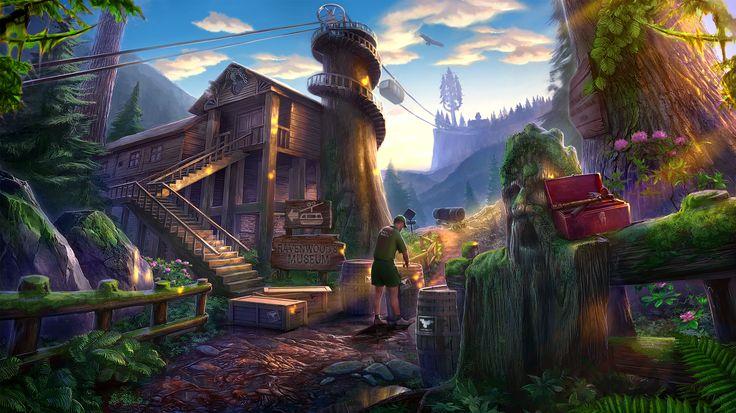 Enigmatis: The Mists of Ravenwood - Sunny Crossroads www.artifexmundi.com/page/enigmatis2 #museum #sculpture #chairlift #fern #raven #bird #redwood #park #game #adventure https://www.facebook.com/ArtifexMundi.Enigmatis