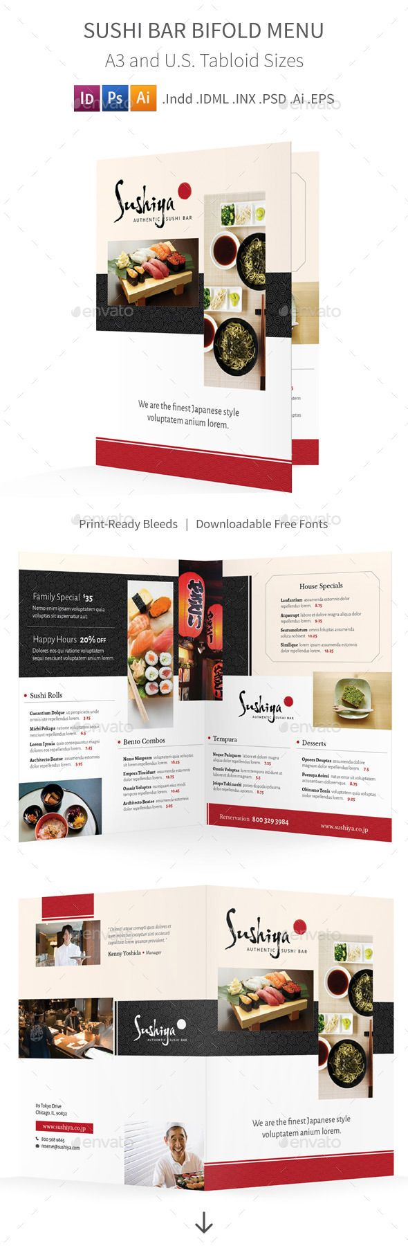 Sushi Bar Bifold / Halffold Menu - Food Menus Print Templates Download here : https://graphicriver.net/item/sushi-bar-bifold-halffold-menu/10353298?s_rank=916&ref=Al-fatih