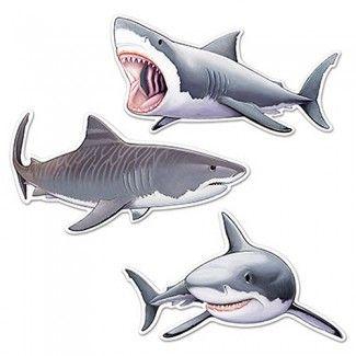 Shark Party Supplies, Shark Cutouts, Party Decorations