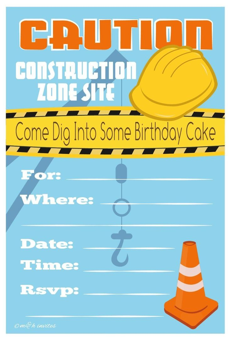Download Now Free Printable Construction Birthday Invitations