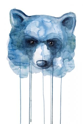 Bear - Watercolor painting created by the Swedish artist Emma Andersson. Shop: https://www.etsy.com/ca/shop/greenfoxart/items